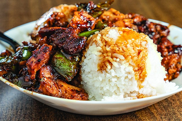 Customer-favorite chicken teriyaki with jalapeños has remained at Panda Grill even as the menu shifted to a burger focus. - PHILLIP DANNER