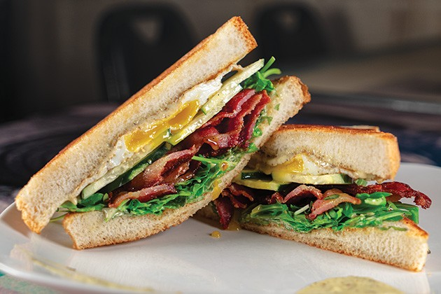 The bacon arugula cucumber sandwich features cannabis-infused mayonnaise. - PHILLIP DANNER
