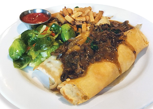 Crêpe of the day topped with wild mushroom sauce - JACOB THREADGILL
