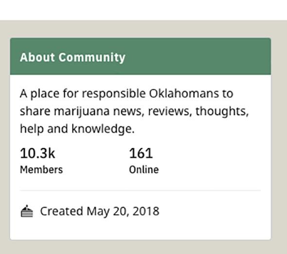 The r/OKmarijuana subreddit hit 10,000 members last week. - REDDIT / PROVIDED