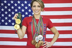 Shannon Miller speaks at Celebrate Pink OKC luncheon