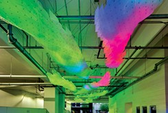 Parking garage art installation enhances daily weather talk