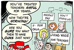 Cartoon: Striking teachers with guns