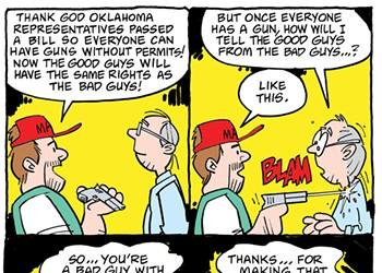 Cartoon: Bad guy with a gun