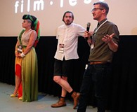 Filmmakers Leslie Hensley, Daniel Giles Helm, and Tate James talk about their films during the DeadCENTER Film Festival at Harkins Theatre in Oklahoma City, Thursday, June 11, 2015. - GARETT FISBECK