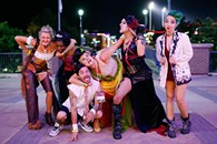 Bonedust Cowgirl, The Bacon, Delicious Diva, The Burger, Chainsaw Mascara, and S.Lash after the showing of Grapple Habit: Oklahoma City's Addiction to B.L.O.W. during the DeadCENTER Film Festival at Harkins Theatre in Oklahoma City, Thursday, June 11, 2015. - GARETT FISBECK
