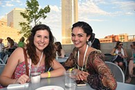 From left, Terra Dray and Sofia Belhouari, attending the OKCMOA opening night rooftop party for the DeadCenter Film Festival, 6-11-2015.  Mark Hancock