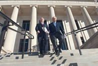 Attorney David Slane and State Rep. Richard Morressette leave after filing a request at the State Supreme Court to remove the State Attorney General from ballet language in the Storm Shelter petition, 11-06-13.  mh