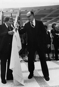 "1979 photo of the ceremonial ""sine die"" dropping of the handkerchief signifying the end of the legislative session in Tallahassee."