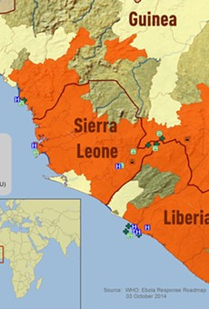 2014 Ebola Outbreak in West Africa - Outbreak Distribution Map, via the CDC