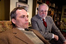 Analyze This: Steven Lane (left) plays C.S. Lewis, as he goes head to head with Sigmund Freud (Terry Wells) in  Mad Cow Theatre's production of Freud's Last Session - PHOTO BY TOM HURST