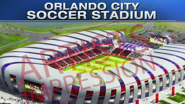 Artist's rendering of the proposed Orlando City Soccer stadium.