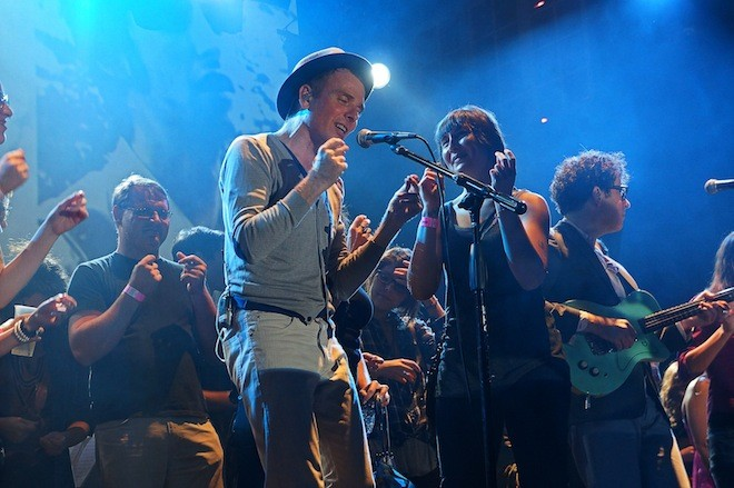Belle and Sebastian getting up-close and personal with fans at House of Blues (photo by Jim Leatherman)