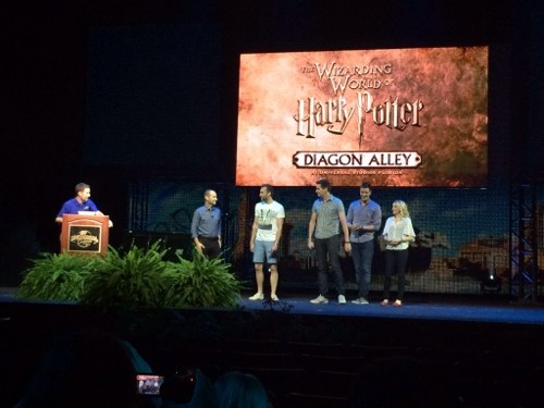 Bill Davis, Thierry Coup, and stars of the Potter films announce a July 8 opening date for Diagon Alley. (Photo by Seth Kubersky)