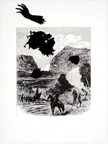 "KARA WALKER - ""Buzzard's Roost Pass,"" from ""Harper's Pictorial History of the Civil War (Annotated),"" 2005. Offset lithography and silkscreen. The Alfond Collection of Contemporary Art, Cornell Fine Arts Museum, Rollins College, 2013.38.02 © 2015 Kara Walker"