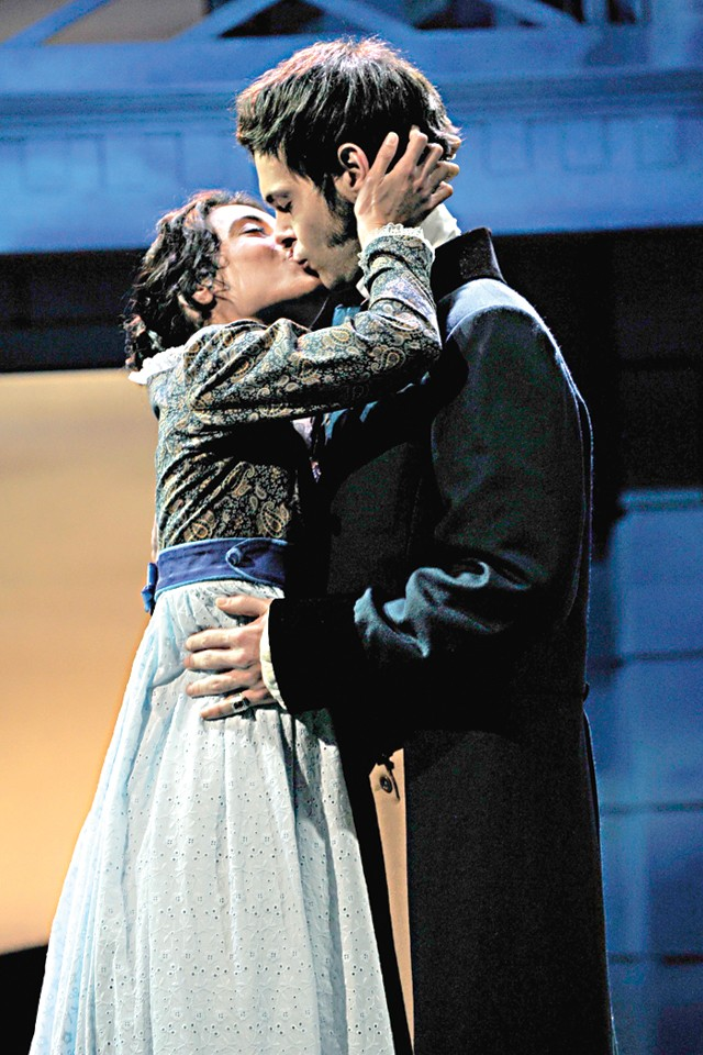Class Act: Michele Vazquez plays Elizabeth Bennet and Avery Clark is Mr. Darcy in OST's Pride and Prejudice - PHOTO BY TONY FIRRIOLO