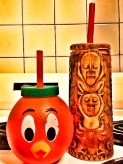 ORANGE BIRD SIPPY CUP AND TIKI MUG