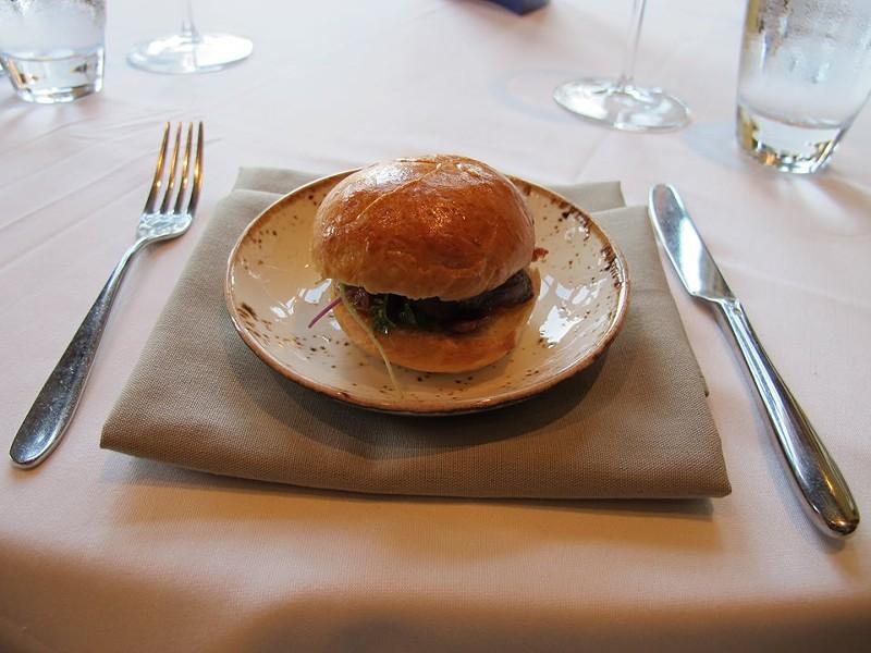 Duck confit, foie mousse, and kumquat sandwich (Vegel) - PHOTO BY FAIYAZ KARA