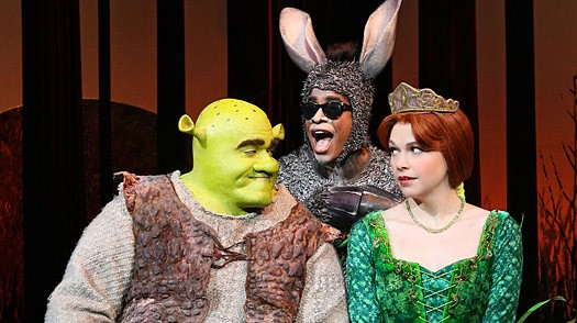 Eric Petersen, Alan Mingo, Jr., and Haven Burton in Shrek the Musical