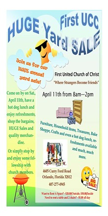 FIRST UNITED CHURCH OF CHRIST - First UCC Huge Yard Sale