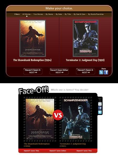 Flickchart (top) vs. MovieWeb