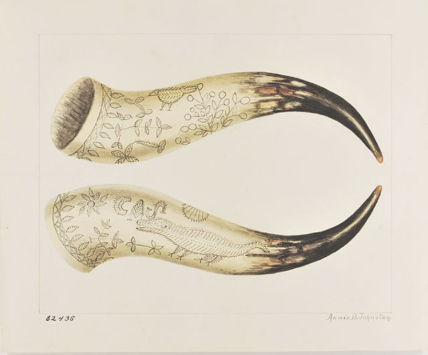 "ANNIE B. JOHNSTON, ""CARVED COW HORN"" (WATERCOLOR, 1939)"