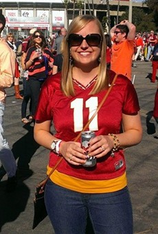 Garnet and gold! Lucky Noles fan Aimee Vitek got to go to the Pasadena Rose Bowl to witness the BCS game of a lifetime