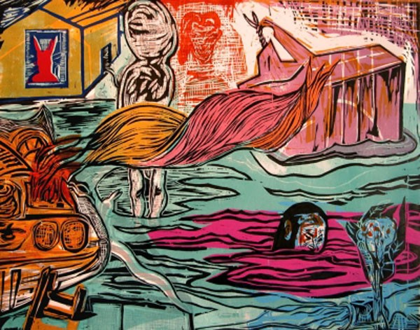 Hot Press: Ke Francis' wood cut, 'Rabbit Trap, Tar Baby and Flood Waters,' is one of his works on display at OMA