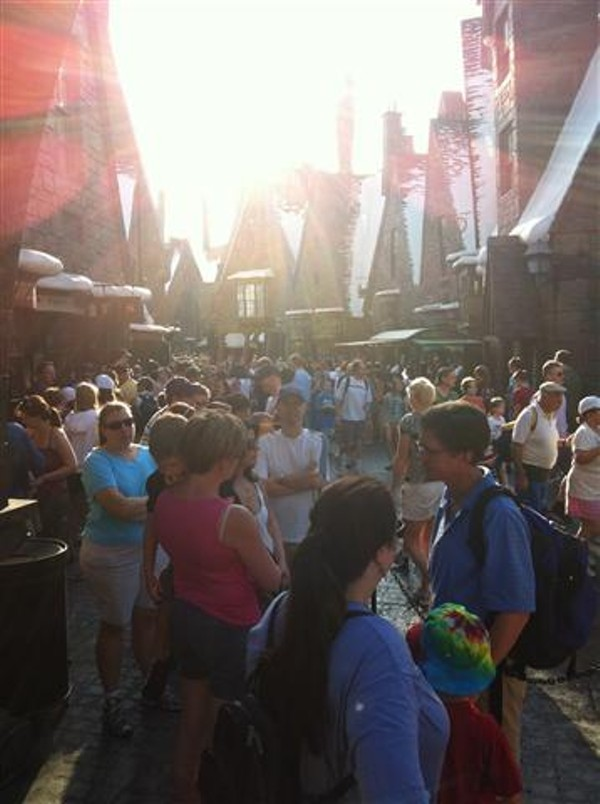 Huge crowds fill Universal Orlando's Harry Potter attraction before 9am.