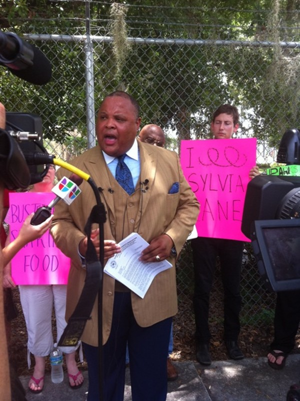 Kyan Ware of the Florida Civil Rights Association speaking to reporters on June 24.