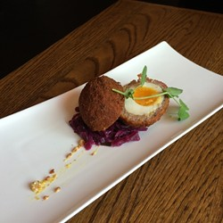 Like this, for instance. The Scotch egg (house-made kielbasa and rye bread crumbs wrapped around a Lake Meadow egg) was killer. Definite new classic.
