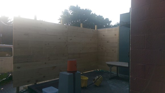 Lil Indies' back patio while under construction. - THADDEUS MCCOLLUM
