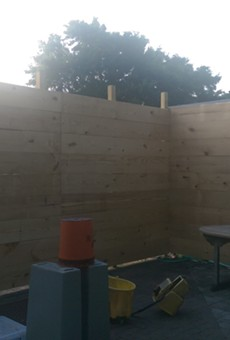 Lil Indies' back patio while under construction.
