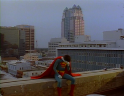 Lonely Bizarro (Barry Meyers) weeps in the shadow of the SunTrust Center.