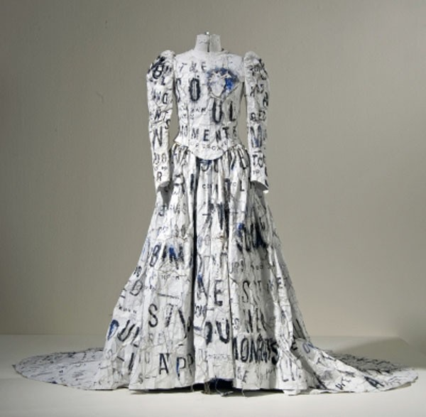 Making a statement: Lesley Dill's 'Dada Wedding Dress' is stamped with the words of Emily Dickinson's poem, 'The Soul Has Bandaged Moments'