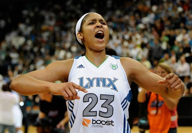 Maya Moore of the Minnesota Lynx after they won the 2011 game against the Atlanta Dream during the WNBA finals. (Credit: mprnews.org)