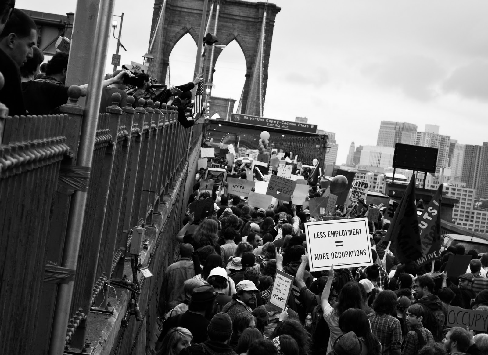 One of Ben Valentine's photos of Occupy Wall Street protesters on the Brooklyn Bridge