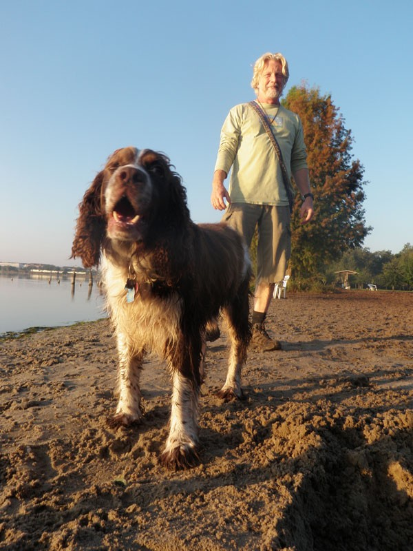 Pay to Play: Tom Nowicki and his dog, Dexter, visit Fleet Peeples Park every morning - JEFF GORE