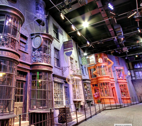 Screenshots from Google Maps' street view of Harry Potter's Diagon on