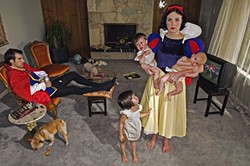Snow White doesn't have the dwarfs to help keep up the house and to watch the kids. Meanwhile, her prince sips and snacks through a heated TV sports match.