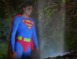 Superboy (Gerard Christopher) at his alien bar mitzvah, where American law prevents him from becoming Superman.
