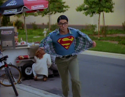 Superboy (Gerard Christopher) rushes into action near one of Orlando's famed hot dog carts.