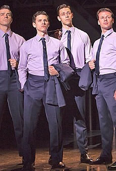 The cast of Jersey Boys, currently at Orlando's Bob Carr through April 27 (photo courtesy Broadway Across America)