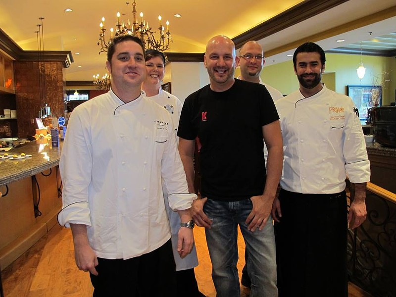 The chefs (from L-R): Jared Gross, Amanda Lauder, Kevin Fonzo, Anthony Krueger, and Mariano Vegel - PHOTO BY FAIYAZ KARA