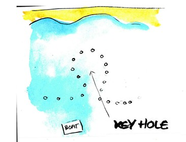The Keyhole! This was our first stop on the trip. Everything behind the buoys was off limits but the Fish and Wildlife people had created this handy little viewing-polyp that we could hang out in and watch the manatees swim by. - ART BY BRENDAN O'CONNOR