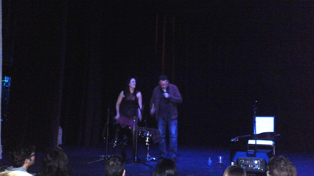 Mark Kozelek at the Dr. Phillips Center - The only time he allowed cell phones to be used was to capture him and an audience volunteer performing together.