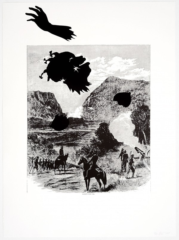 """""""Buzzard's Roost Pass, from Harper's Pictorial History of the Civil War (Annotated),"""" 2005, by Kara Walker. Courtesy Alfond Collection of Contemporary Art, Cornell Fine Arts Museum, Rollins College"""