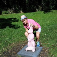 Pink bunny statue in Lake Como park is being relocated