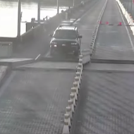 A distracted Florida driver actually jumped an open drawbridge