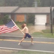 Shirtless Florida ginger defies Hurricane Matthew, whips his hair back and forth outside in storm